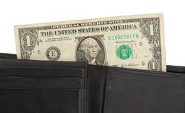 Billete de dólar en una cartera, cierre de los E.E.U.U. uno para arriba Fotografía de archivo libre de regalías