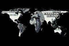Billete de dólar y mapa del mundo Imágenes de archivo libres de regalías