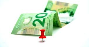 Billete de dólar de 20 canadienses Fotos de archivo