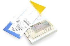 Billete del pasaporte y de avión con la verificación de bagaje. imagen de archivo