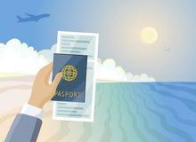 Billete y pasaporte de avión a disposición, playa del paraíso del verano, concepto de las vacaciones ilustración del vector