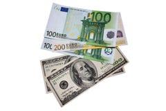 Billetes americanos y euro Fotos de archivo libres de regalías