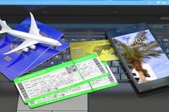 Billetes de avión de compra en línea Fotografía de archivo