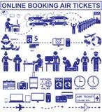 Billetes de avión en línea de la reservación Imagenes de archivo