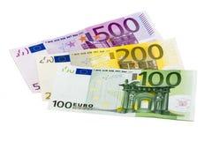 Billetes de banco aislados 100 del dinero tres de la pila euro 200 500 800 Fotografía de archivo libre de regalías
