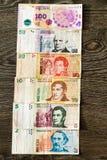 Billetes de banco argentinos de los Pesos Foto de archivo libre de regalías