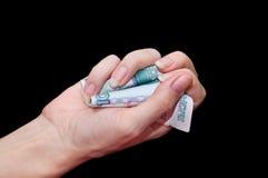 Billetes de banco arrugados en 1000 rublos Foto de archivo
