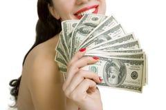 Billetes de banco atractivos de la mujer y del dólar en un fondo blanco Fotografía de archivo