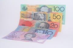 Billetes de banco australianos de la moneda todas las denominaciones Fotografía de archivo libre de regalías