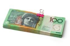 Billetes de banco australianos de la moneda $100 Foto de archivo libre de regalías