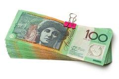 Billetes de banco australianos de la moneda $100 Imagen de archivo libre de regalías