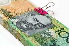 Billetes de banco australianos de la moneda $100 Fotos de archivo libres de regalías
