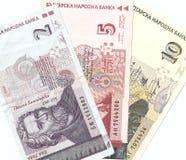 Billetes de banco búlgaros - 2, 5, 10 levs búlgaros. Imágenes de archivo libres de regalías