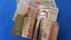 billetes de banco camboyanos Foto de archivo libre de regalías