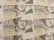 2000 billetes de banco checos de la corona Imagen de archivo