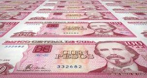 Billetes de banco de cientos Pesos cubanos del banco central de Cuba, dinero del efectivo, lazo libre illustration