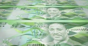 Billetes de banco de cinco dólares del balanceo de la isla de Barbados, dinero del efectivo, lazo libre illustration