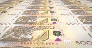 Billetes de banco de cinco mil leks albaneses de balanceo de Albany, dinero del efectivo, lazo almacen de video
