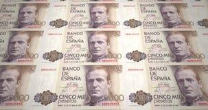 Billetes de banco de cinco mil Pesetas españolas de España, dinero del efectivo, lazo almacen de video