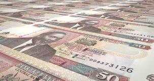 Billetes de banco de cincuenta chelines kenyan del balanceo de Kenia, dinero del efectivo, lazo ilustración del vector