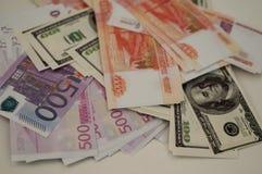 Billetes de banco dólar, euro, rublo del banco Fotografía de archivo
