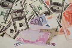 Billetes de banco dólar, euro, rublo del banco Imagenes de archivo