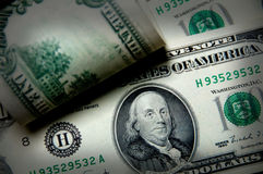 Billetes de banco de cientos dólares Imagen de archivo