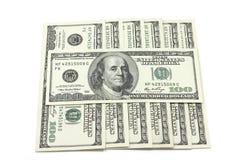 Billetes de banco de cientos dólares de cuadrado Fotografía de archivo