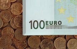 Billetes de banco de cientos euros Foto de archivo libre de regalías
