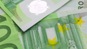 Billetes de banco de cientos euros metrajes