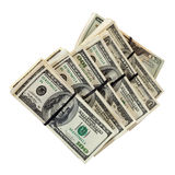 Billetes de banco de dólar americano. Aislado en blanco Imagenes de archivo