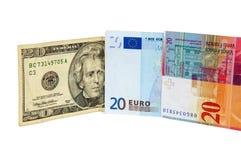 Billetes de banco de 20 dólares, del euro y del franco suizo Imágenes de archivo libres de regalías