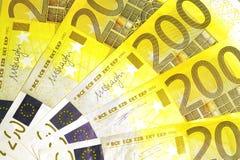 Billetes de banco de 200 euros Imágenes de archivo libres de regalías
