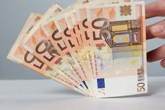 Billetes de banco de 50 euros Fotografía de archivo