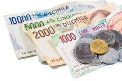 Billetes de banco de Italia Lira italiana Foto de archivo libre de regalías