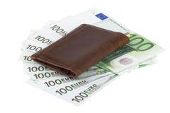 Billetes de banco de la cartera y del euro Foto de archivo