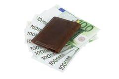 Billetes de banco de la cartera y del euro Fotos de archivo libres de regalías