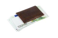 Billetes de banco de la cartera y del euro Foto de archivo libre de regalías
