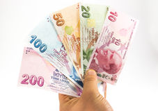 Billetes de banco de la lira turca Fotos de archivo libres de regalías