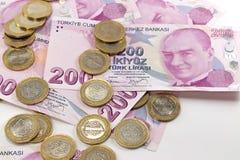 Billetes de banco de la lira turca y dinero del hierro Imagen de archivo libre de regalías