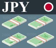 Billetes de banco de los yenes Ejemplo isométrico del vector del diseño Imagenes de archivo