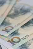 Billetes de banco de Yuan del chino (Renminbi) para el dinero y el conce del negocio Foto de archivo libre de regalías