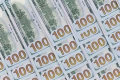 100 billetes de banco del americano del dólar Imágenes de archivo libres de regalías