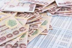 Billetes de banco del baht tailandés 1000 Imágenes de archivo libres de regalías