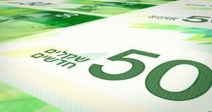 Billetes de banco del balanceo del shekel de cincuenta israelíes en la pantalla, dinero del efectivo, lazo almacen de video