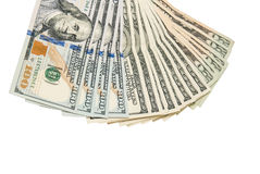 100 billetes de banco del dólar aislados en blanco Fotos de archivo libres de regalías