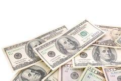 Billetes de banco del dólar aislados sobre blanco Fotos de archivo