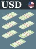 Billetes de banco del dólar Ejemplo isométrico del vector del diseño Fotos de archivo