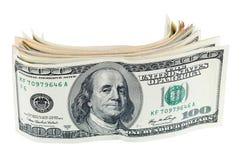Billetes de banco del dólar en el fondo blanco imagen de archivo
