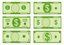 Billetes de banco del dólar de las opciones de la historieta del vector parte delantera Ilustración del vector stock de ilustración